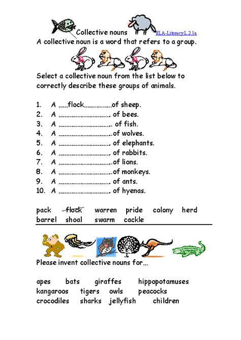 collective nouns worksheet 2 ela literacy l 2 1a language