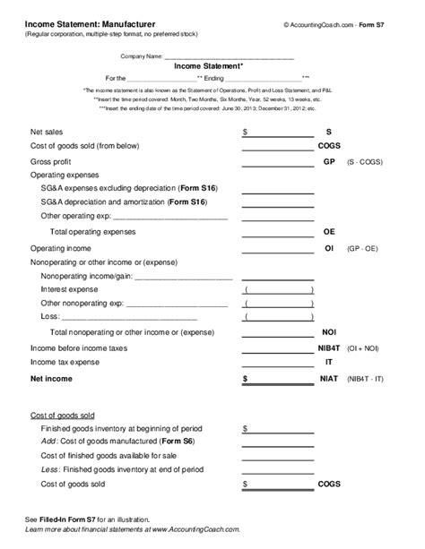 income statement manufacturer corporation multiple