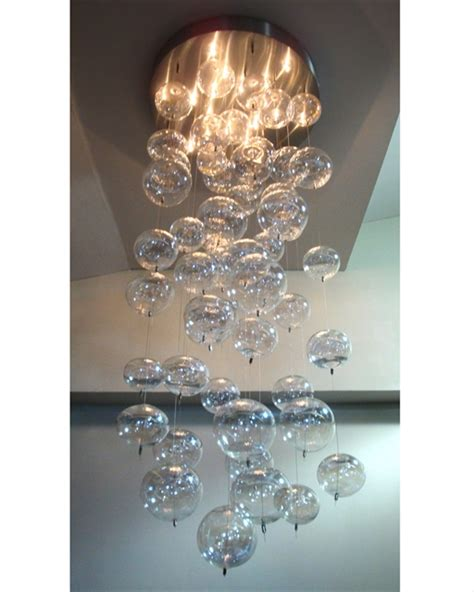 bubble blown glass pendant chandelier artisan crafted