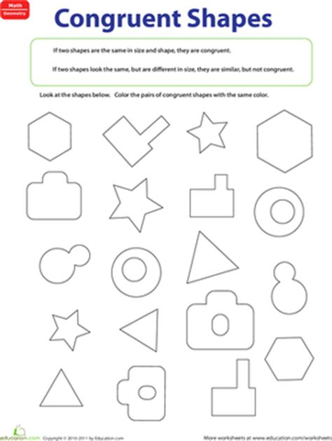 Congruent Figures  Worksheet Educationcom