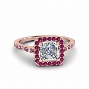 Princess cut square halo diamond delicate engagement ring for Princess cut pink diamond wedding rings