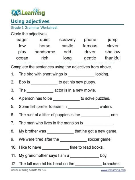 worksheet english grammar worksheets  grade