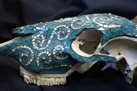 mosaic skulls crystal thomas amazing bovine artwork