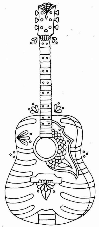 Guitar Coloring Pages Acoustic Printable Getcolorings