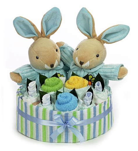 twin boy rabbit bouquet baby gifts