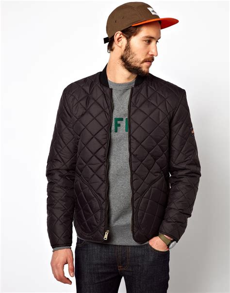 mens quilted jacket penfield landrum quilted bomber jacket in black for lyst