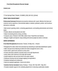Front Desk Receptionist Resume Examples