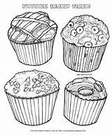 Coloring Muffins Muffin Blueberry Baked Fresh Palace Cinnamon Bakery Chip Chocolate Types Four sketch template