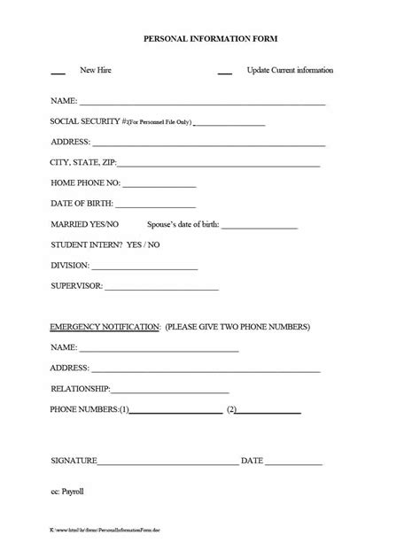 update contact information form template 47 printable employee information forms personnel information sheets