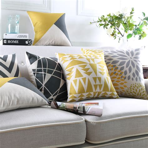 accent pillows for grey sofa modern geometric cushion cover yellow pillows decorative
