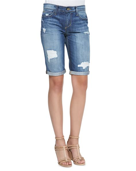 Joeu0026#39;s jeans Easy Samara Denim Bermuda Shorts in Blue (SAMARA) | Lyst