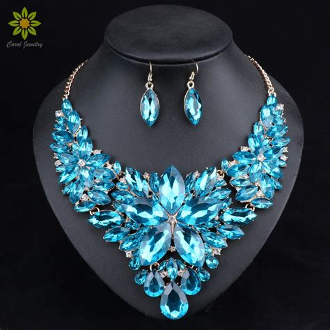 fashion crystal jewelry sets bridal necklace earrings sets