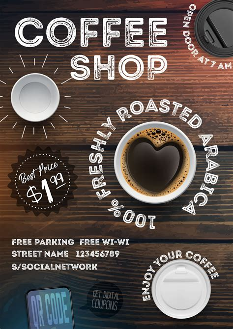 Learn vocabulary, terms and more with flashcards, games and other study tools. Coffee shop flyer template on vintage wood texture ...