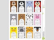 Animals calendar stock vector Illustration of