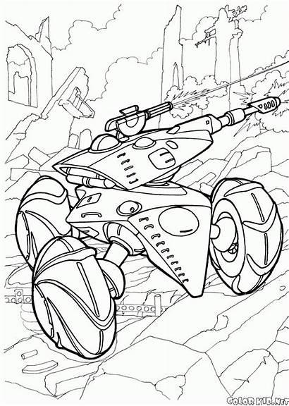 Coloring Futuristic Wars Pages Tank Autonomous