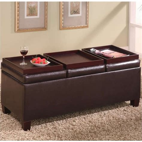 ottoman with tray coaster faux leather storage ottoman with reversible trays