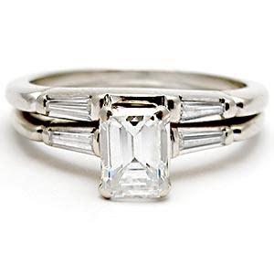 wedding rings  engraved emerald cut diamond wedding