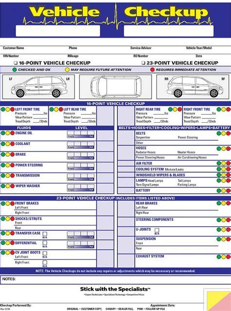 bureau inspection automobile multi point inspection form generic 3 part
