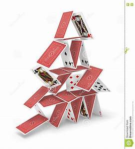 House Of Cards Tower 3D Collapsing Stock Image - Image of ...