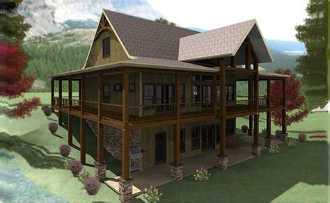 lakefront house plan  wraparound porch  walkout basement