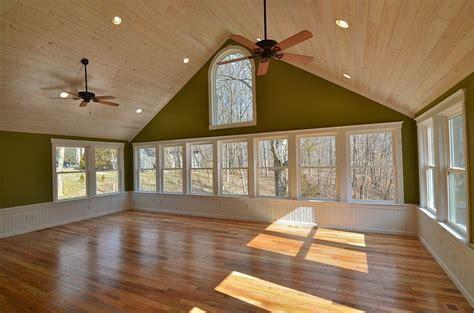 White Washed Wood Ceiling Floor Windows Trim Sunroom Ideas