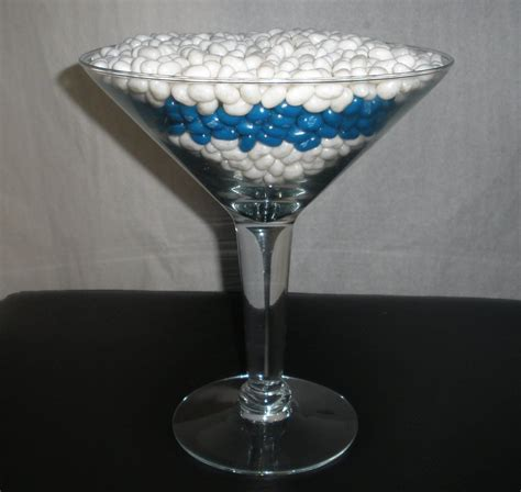 Large Martini Glasses Filled With Candy For Centerpieces