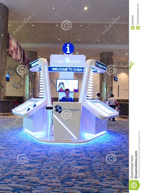 traveler help desk flights dubai international airport interior editorial stock photo