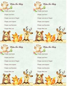 Woodland Forest Animal Baby Shower Game Wishes For Baby ...