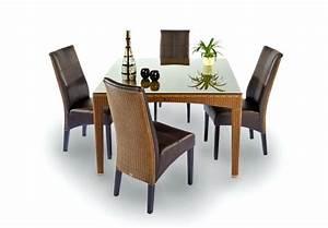 Chaise en loom et cuir synthetique brin d39ouest for Meuble salle À manger avec chaise en cuir