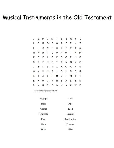 musical intruments in the bible word search puzzle