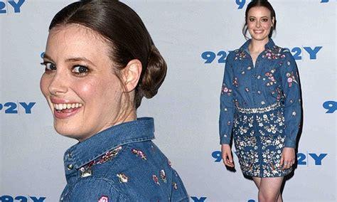 Love star Gillian Jacobs steps out in denim mini dress ...