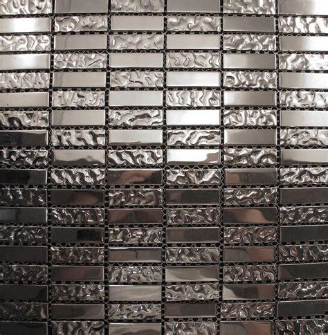 metallic kitchen backsplash sle silver metallic glass blend mosaic tile for