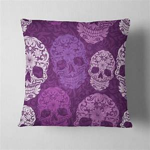 Purple scroll sugar skull decorative throw pillow ink for Amethyst throw pillows