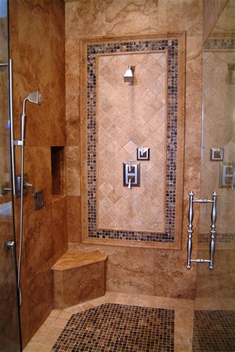 Travertine Shower   Traditional   Bathroom   seattle   by