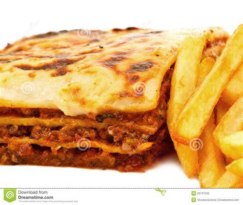 homemade traditional lasagna  fries stock