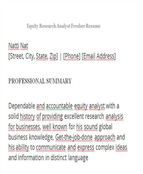 resume equity research analyst fresher 43 professional fresher resumes