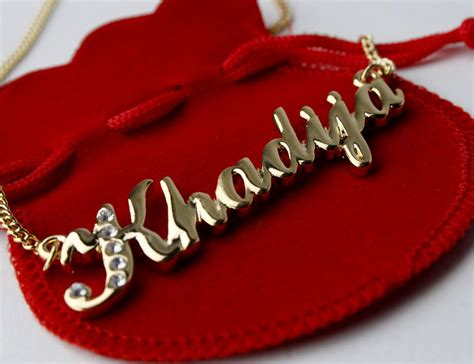 18 Karat Gold Plated Name Necklace Khadija