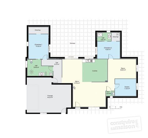 plan de maison plain pied 2 chambres et garage maison de plain pied 2 dé du plan de maison de plain