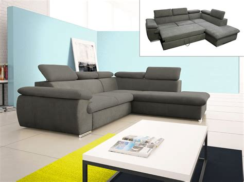canapé d angle de jardin canapé d 39 angle convertible en tissu taupe ou noir fabien