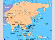Clickable map of Asia