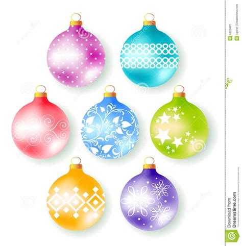 set   decorate christmas tree balls stock vector