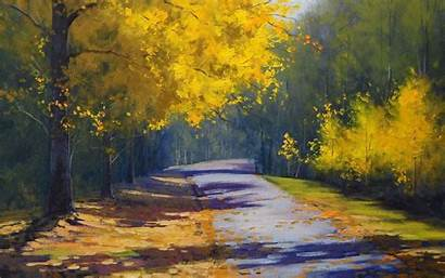 Painting Nature Trees Road Drawings Paintings Wallpapers