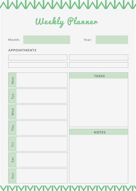 printable weekly planner    documents