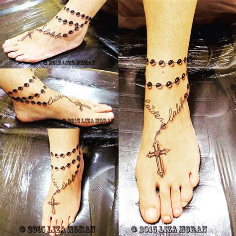 blessed cross rosary ankle tattoos