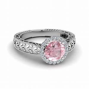 Antique vintage halo morganite engagement ring in 14k for Colored diamond wedding ring