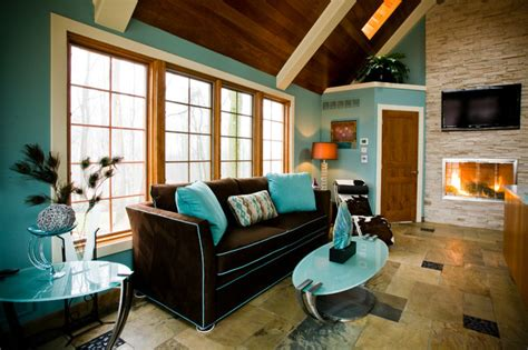 brown and aqua living room decor pool house lounge pittsburgh contemporary living room