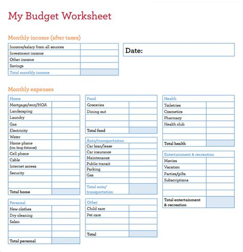budget worksheet templates  numbers pages