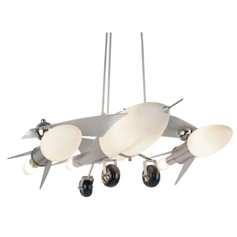 bel air lighting jet airplane 6 light frosted glass