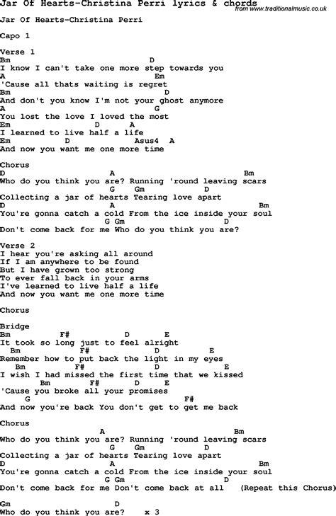 kunci piano jar of heart jar of hearts chords ukulele pinterest jars charts and lyrics