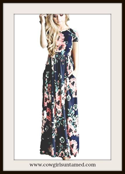 navy blue floral short sleeve elastic waist long summer